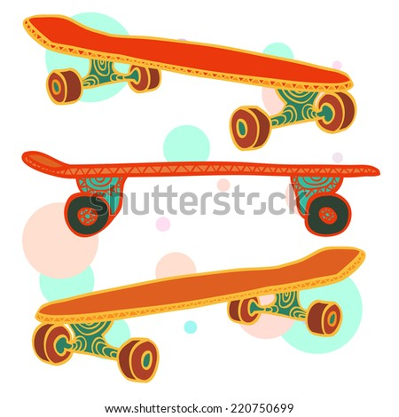 Three colorful hand drawn skateboards on abstract background. Vector illustration. - stock vector