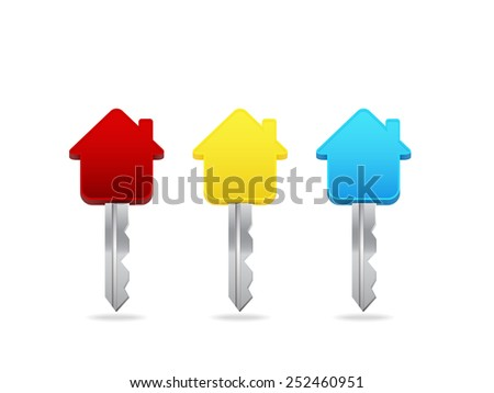 Three colorful keys. Vector illustration.