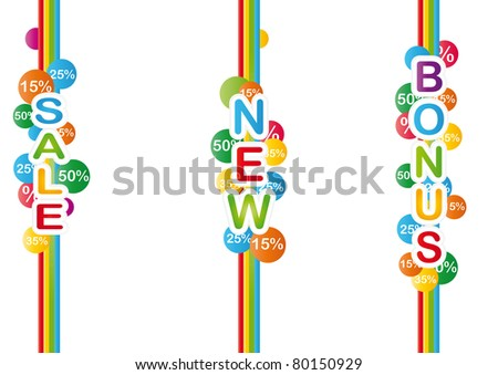 Three colorful shop promotion labels - stock vector