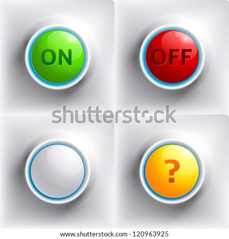 Three colors buttons: red, green, yellow and white template for your design - stock vector