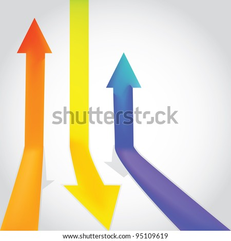 Three colour arrow going up and down - illustration - stock vector