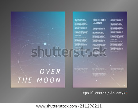Three-column double sided vector leaflet / brochure / cover layout template with modern colorful polygonal deep space illustration. A4, eps10, cmyk.  - stock vector