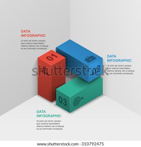 three column infographics data 3d isometric design - stock vector