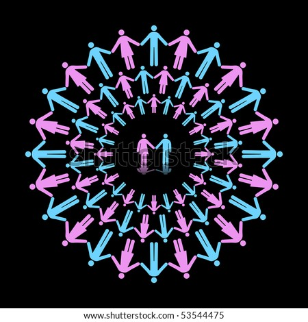 Three Concentric Circles of Men and Women Holding Hands With One Couple as Center - stock vector