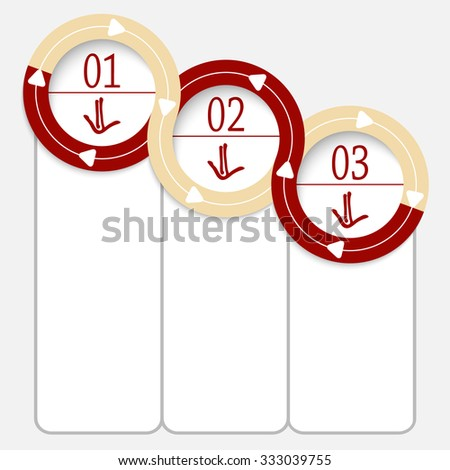 Three connected frames for your text and hand written arrows - stock vector