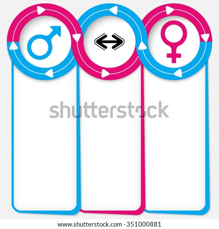 Three connected frames for your text and symbol of woman and man - stock vector