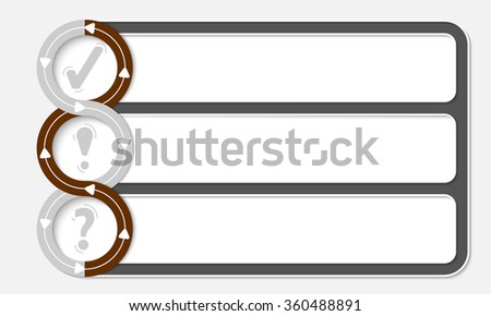 Three connected frames for your text and symbols - stock vector