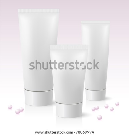 Three cosmetic tube. Illustration on pink background - stock vector
