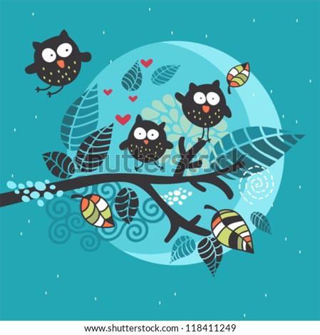 Three crazy owls on the brunch. Vector illustration. - stock vector