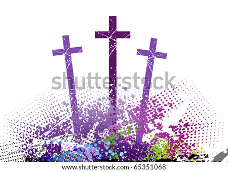 three cross on the color hill - stock vector