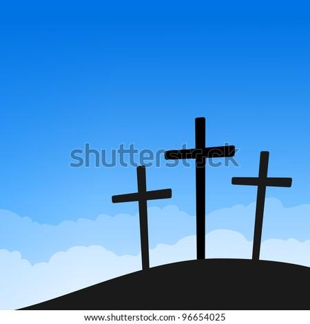Three Crosses on Blue Sky - stock vector