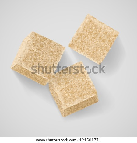 Three cubes of brown sugar with shadow on grey background - stock vector