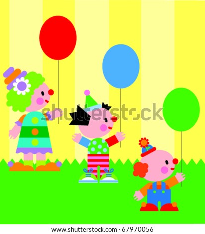 Three Cute Clowns with Balloons - stock vector