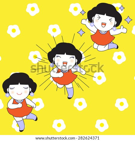 Three Cute Girls On The Flower Pattern illustration - stock vector