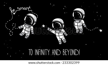 three cute hand drawn astronauts with stars floating in space, cosmic vector illustration - stock vector
