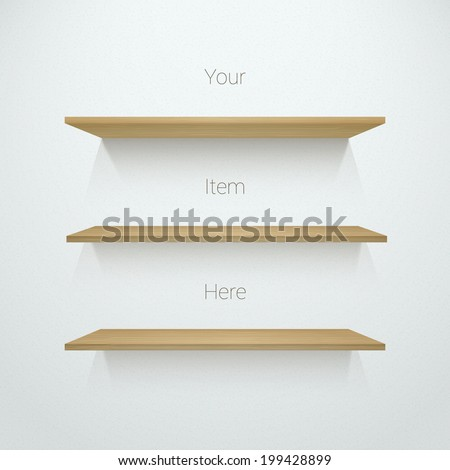 Three 3d empty wood shelf  illustration on wall for online exhibit, web design, presentation - stock vector