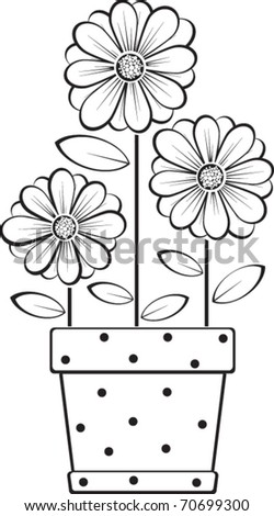 three daisies in a pot - stock vector