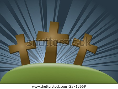 three dark crosses on the hill, the glow in the background - stock vector