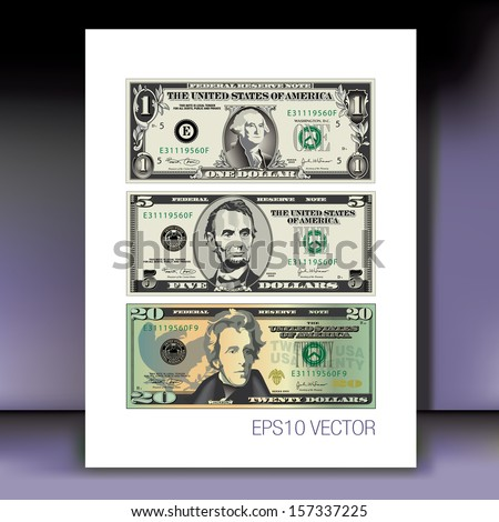 Three detailed, Stylized Vector Drawings of Bills on a Mauve Background - stock vector