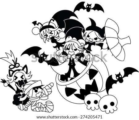Three devils appear from the jack-o-lantern, and a mummy boy and a black cat girl are surprised. - stock vector