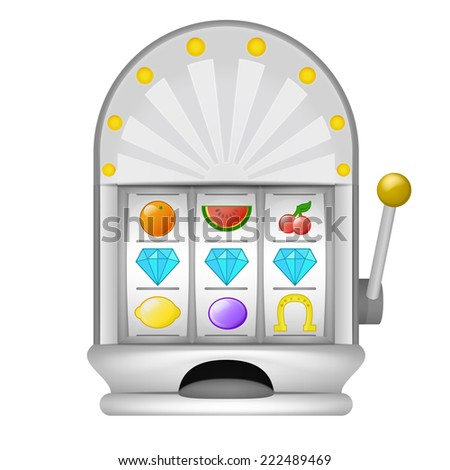 three diamond winning on play machine object vector illustration - stock vector