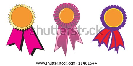 Three different award ribbons. Vector Illustration - stock vector