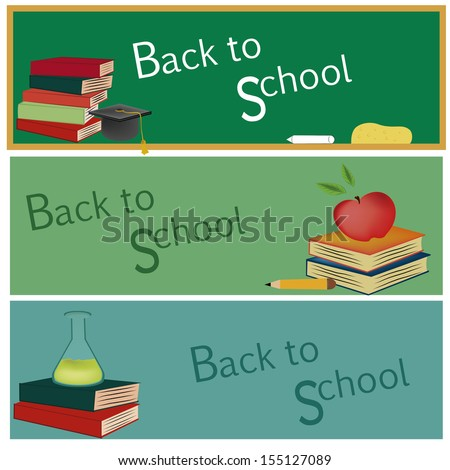 three different board with different color welcoming students - stock vector