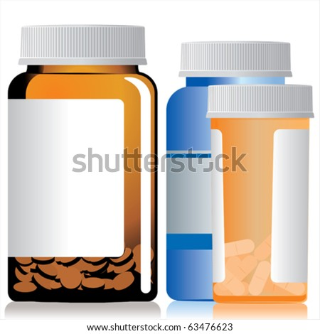 Three different bottles of medicines. - stock vector
