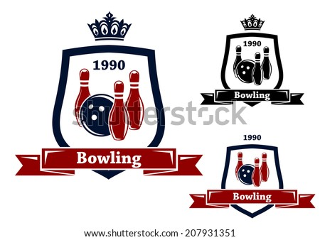 Three different bowling badges or emblems with pins and a bowling ball inside a shield with a ribbon banner containing the text - Bowling - two with crowns above, one with a date for sport logo design - stock vector