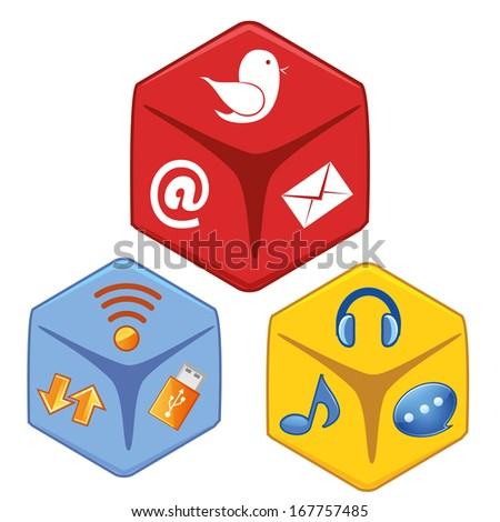 three different boxes with colored icons inside them - stock vector