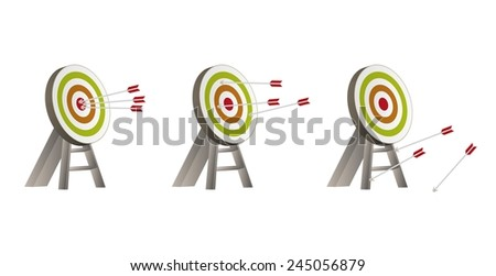 three different color targets with arrows and wooden holder - stock vector