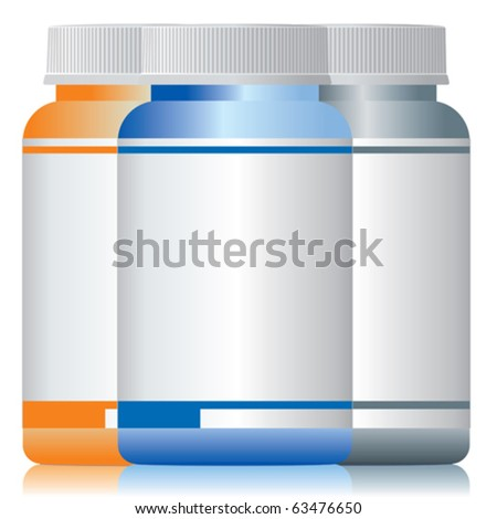 Three different colors of bottles of medicine. - stock vector