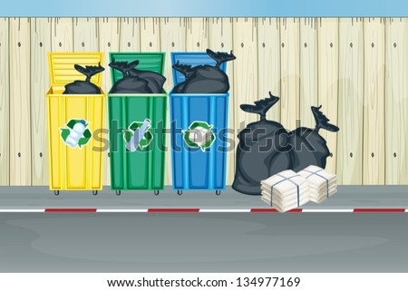 Three different colors of trash cans - stock vector