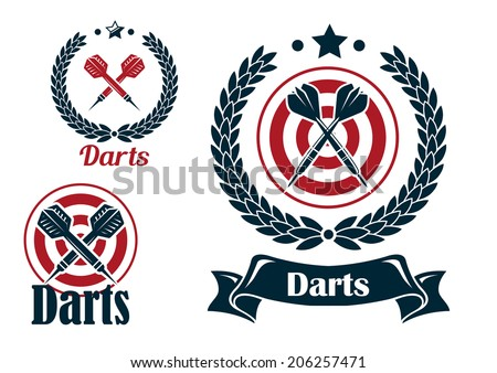 Three different darts emblems or logo with a set of crossed darts with a dart board or laurel wreath and text below - Darts - one in a ribbon banner - stock vector