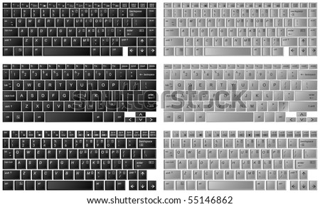 three different kinds of desktop keyboards in layered vector