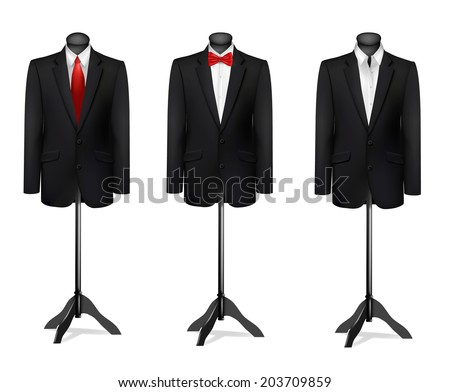 Three different suits on mannequins. Vector. - stock vector