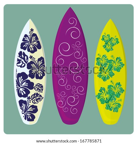 three different surfboards with different colors and styles