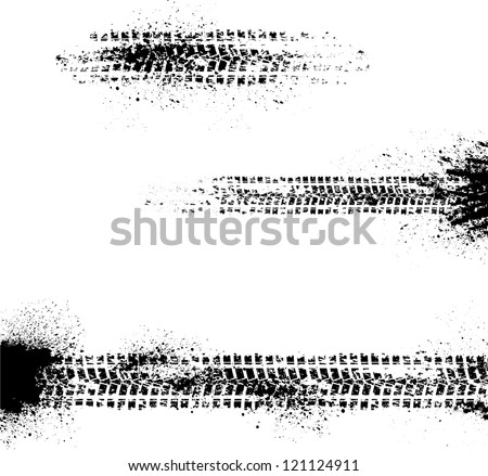 Three different tire track on white background - stock vector