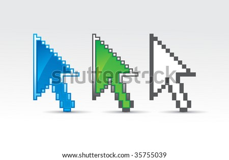 three different type vector hand mouse glossy symbol - stock vector