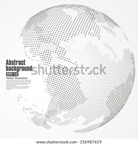 Three-dimensional abstract planet, dots, representing global, international meaning. - stock vector