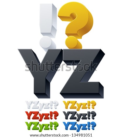 Three-dimensional alphabet. Vector illustration of 3d font characters. Plastic style. Letters yz - stock vector