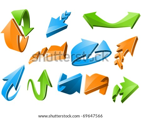 Three-dimensional Arrow Signs Set of different shapes - stock vector