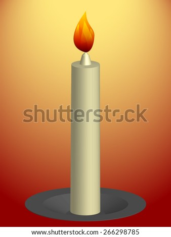 Three-dimensional burning candle on a dish on the orange-red background. - stock vector