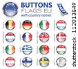 Three Dimensional Buttons with Country Flags for European Union (EU), vector illustration - stock photo