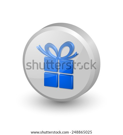 Three dimensional Christmas or birthday gift icon on white background - stock vector