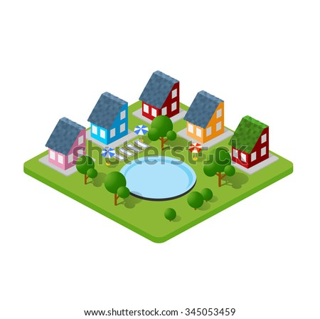 Three-dimensional city buildings, townhouses, homes, supermarkets, roads and streets. - stock vector