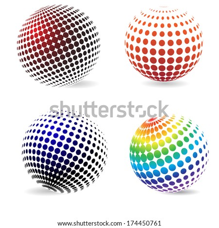 Three-dimensional color halftone circles with a shadow .