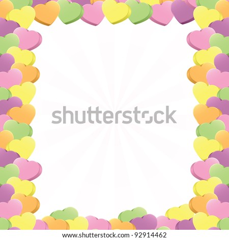 Three-dimensional conversation hearts in pink, purple, green, yellow and orange arranged in a square border; add your own text (vector contains clipping mask.) - stock vector