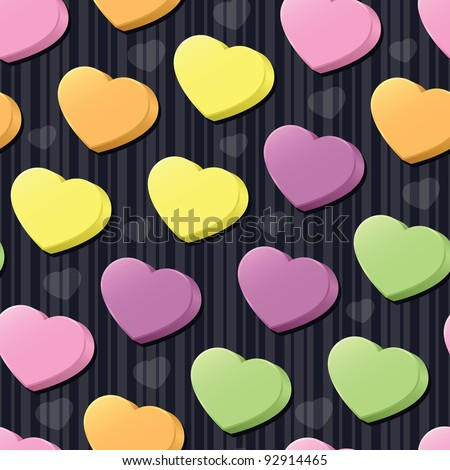 Three-dimensional conversation hearts in pink, purple, green, yellow and orange arranged on a black striped seamless tile; add your own messages (vector contains clipping mask.) - stock vector