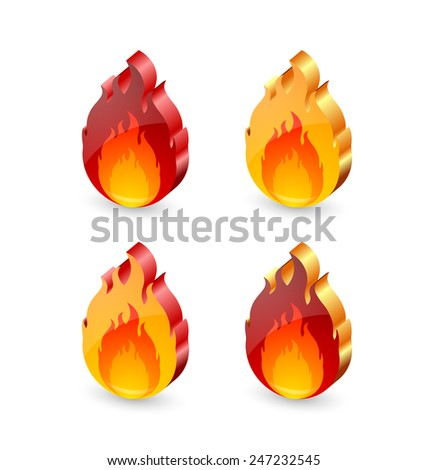 Three dimensional glossy fire icons on white background - stock vector